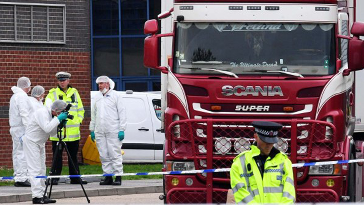 Bodies of 39 people found in back of lorry on Essex industrial estate UK