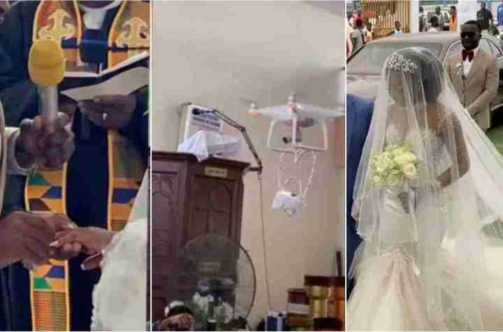 Drone delivers rings during Mr. and Mrs. Asante Osei white wedding