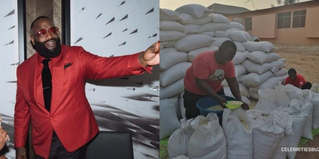 Rick Ross reacts after CJ Biggerman shared photos of his maize storeroom in Ghana