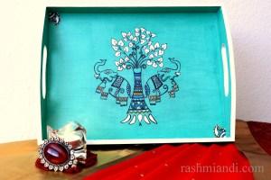 Hand Painted Madhubani Serving Tray