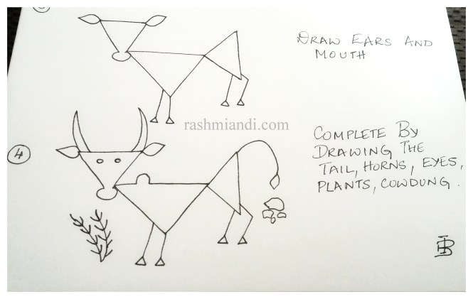 Complete by drawing the tail, horn, eyes, plants and cow dung.