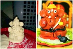 First ever Ganesha idol I made using Crayola air dry clay, was for Ganesh Chaturthi in 2014!
