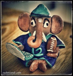 This is a Seahawks inspired Ganesha idol for my husband's workdesk.