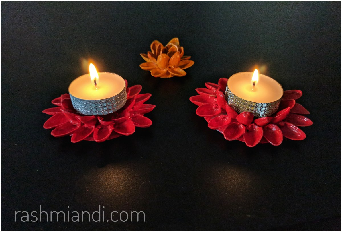 DIY Pistachio candle or Diya holder