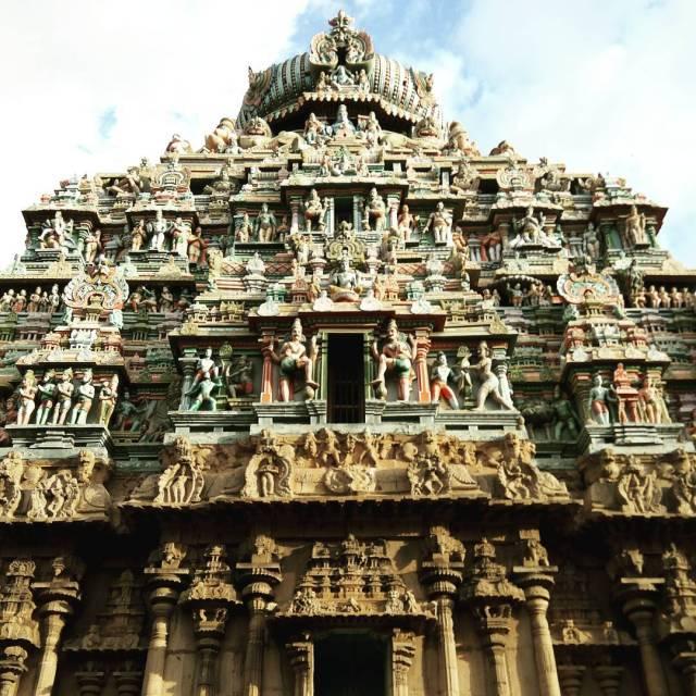 One of the intricate towers or gopuram of the Koodalhellip
