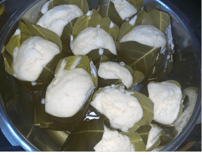 Kadubu (Idlis) wrapped in jackfruit tree leaves