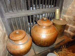 Antique storage pots used to store rice and pulses in the kitchen