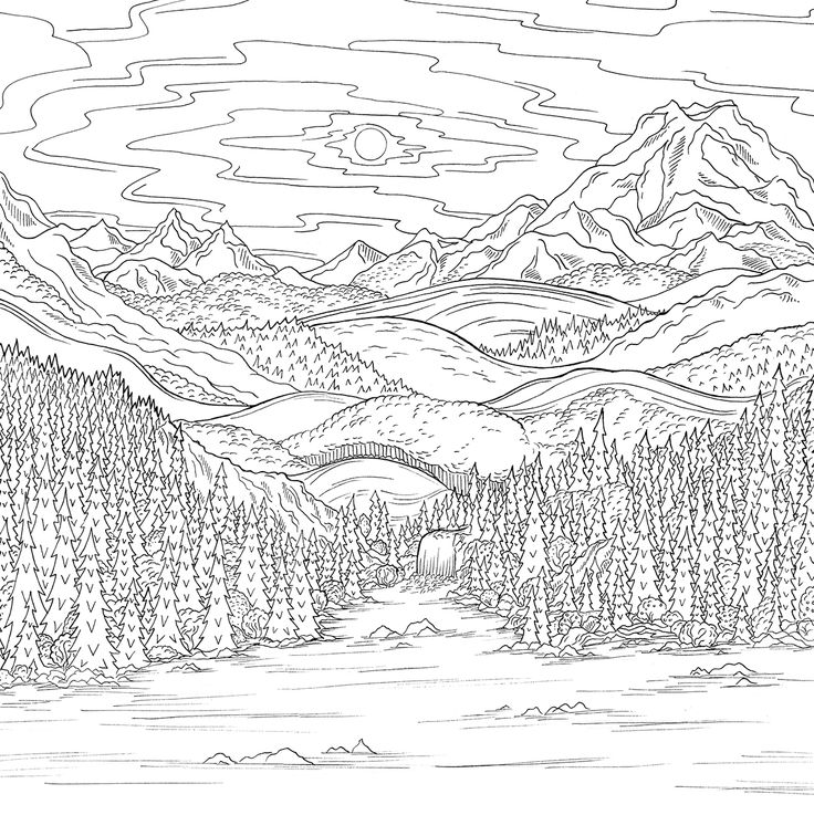 Coloring Pages Nature Landscape Forest Mountains Sea Island