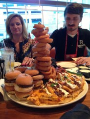 On-Site Coordinator Blake about to dig in to the appetizer tower at dinner!