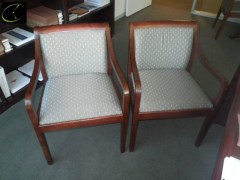 VISITORS CHAIR KIMBALL CHERRY FRAME WITH GRAY PATTERN SEAT AND BACK