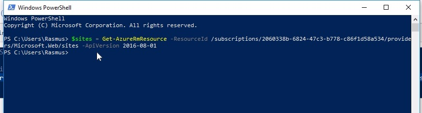 Work with the web apps in PowerShell;Paste our snippet into PowerShell and assign it to a variable (in this case $sites)