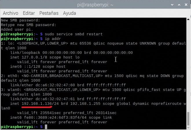 Knowing the IP of the Raspberry Pi with the command ip addr
