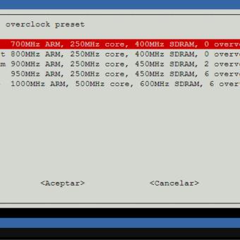 raspi-config overclock options velocidad procesador raspberry pi