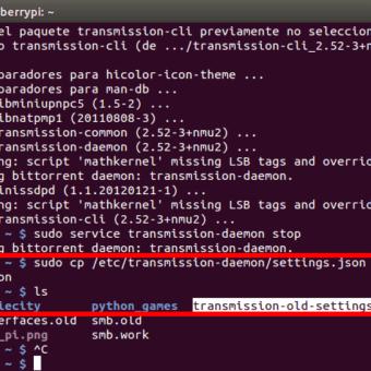 como instalar y configurar transmission-daemon en la Raspberry Pi
