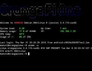 armbian-orange-pi-one - pantalla de bienvenida