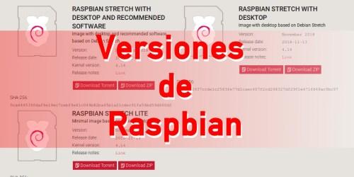 Versiones de Raspbian 2019