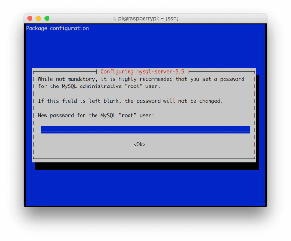 mysql root password raspbian