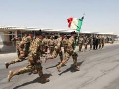 03. la bandiera del 6° bersaglieri sfila lo schieramento del picchetto d'onore