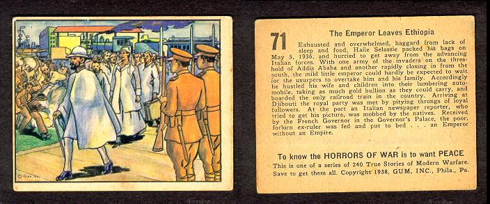 """Gum Inc (bought by Bowman Cards, later bought by Topps) - 1938 """"Horrors of War"""" series"""