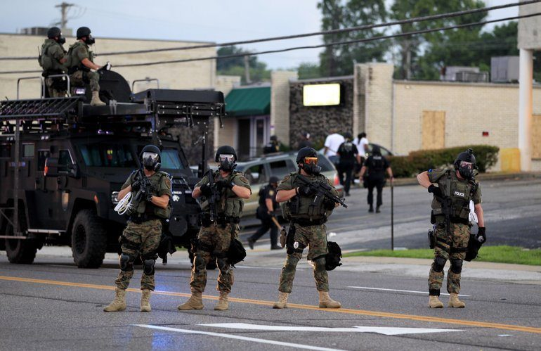 Ferguson Police in a show of force.
