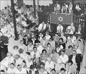 1978: A group of Jews at worship in the Jewish Synagogue on Duke Street, Kingston. At the altar, Mr. Ernest deSouza, acting spiritual leader of Jewsih community in Jamaica, conducts the service. File Photo.