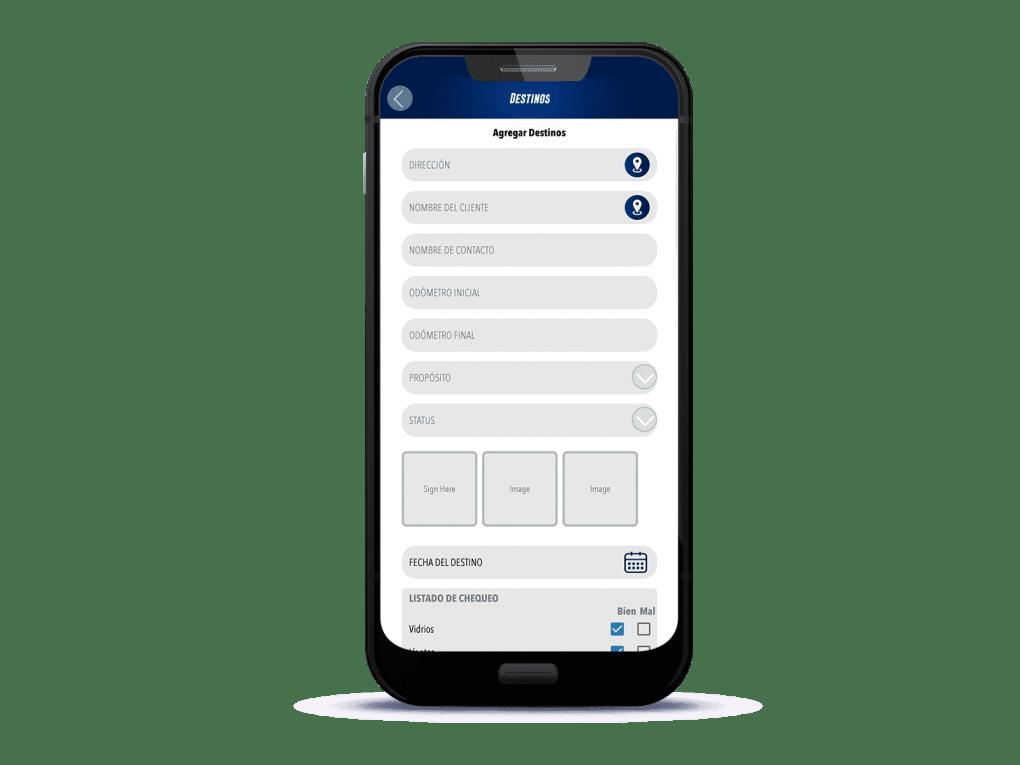Rastrack APP formulario personalizado