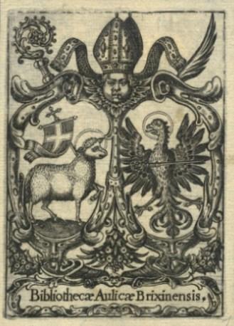 """Ex libris """"Bibliothecae Aulicae Brixinensis"""" (Fürstbischöfliche Hofbibliothek Brixen), 102 x 73 mm, Kupferstich, ca. 1580."""
