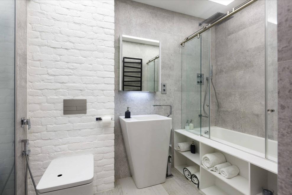 белая плитка в ванной комнате дизайн 3