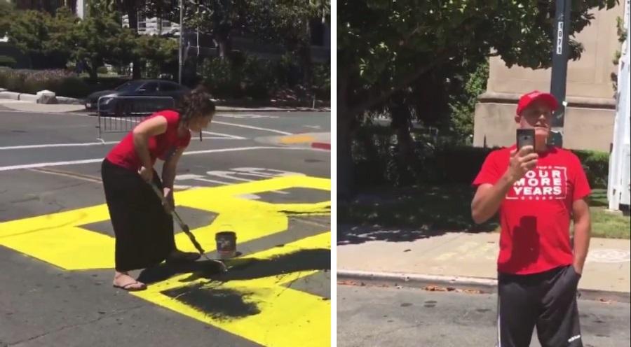 Bay area Karen & Chad paint over city sanctioned BLM mural- arrest warrant issued