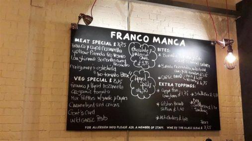Franco Manca Menu Board