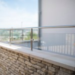 Glass and steel balcony feature