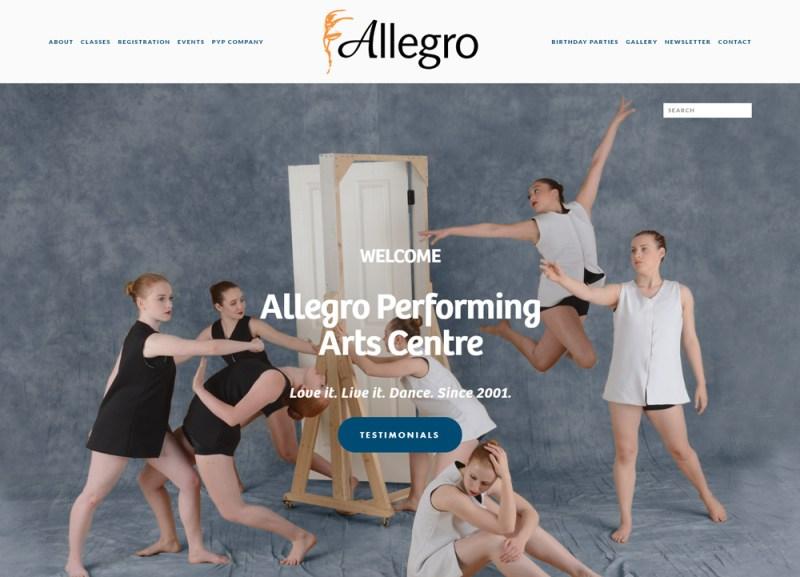 screenshot allegro homepage
