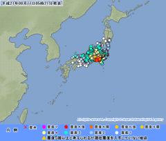 地震情報(2009年8月11日午前5時7分、気象庁ホームページ)