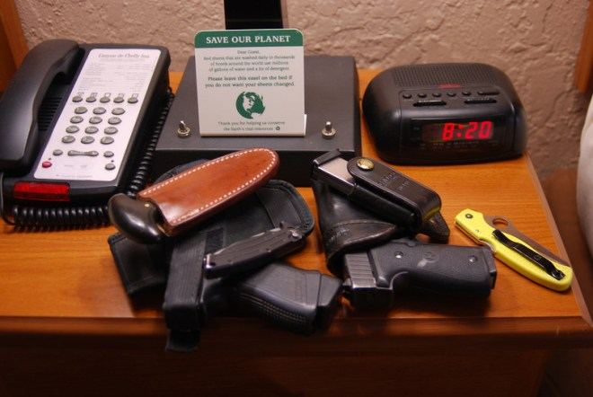 The night stand when we travel. Carol is good back-up. She protects and defends me . I love her more because of it.