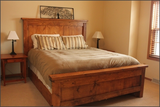 Queen Size Bed Frame Furniture Brown Wooden With Headboard