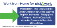 Web Searchers - Data entry specialistsShoppers, Trend spotters, Social observersTelephone interviewersPhotographersTranslatorsAnalysts_consultantsInformation professionals_specialistsWriters_Editors