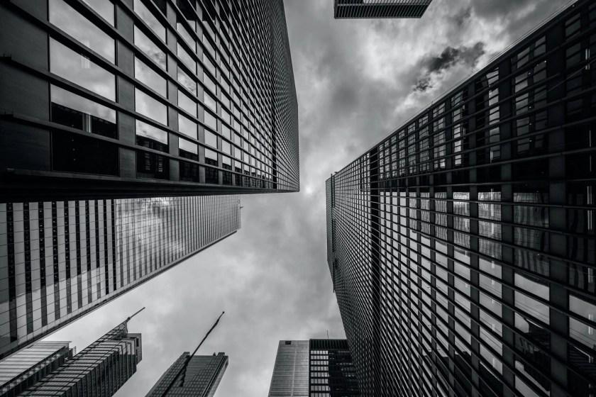 Buildings seen from below