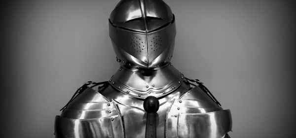 gray scale photography of knight