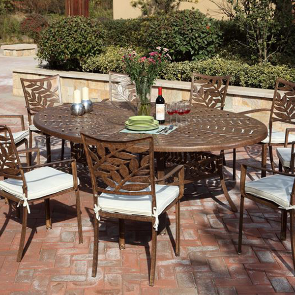 forest 6 seater oval cast aluminium dining set