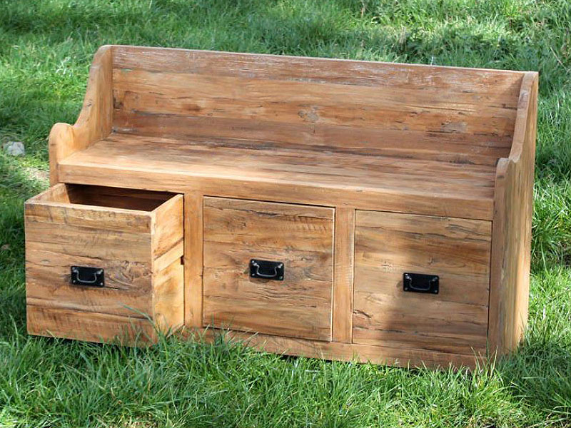 Larkin Reclaimed Teak Garden Storage Bench Seat 160cm
