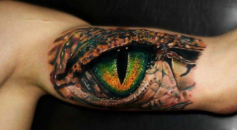 highly detailed and photo realistic this lizard eye tattoo by carlox