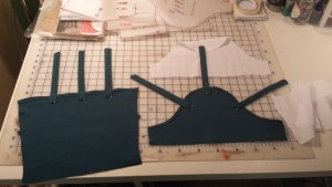Sleeve pieces before attaching them all together