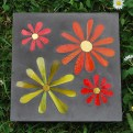 flowers concrete paver - smalti, stained glass, gold leaf glass (sold)