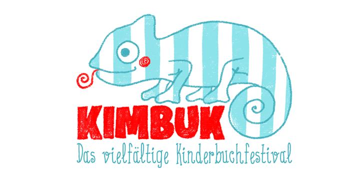 Das Logo zu KIMBUK, dem vielfältigen Kinderbuchfestival: Ein gestreiftes Chamäleon