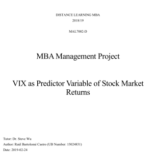 VIX as Predictor Variable of Stock Market Returns