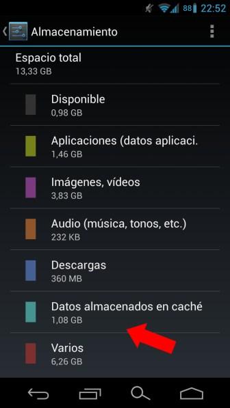 Imagen que muestra la caché acumulada en el sistema Android