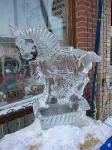 horse ice carving at Fire and Ice Festival