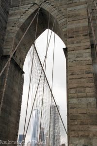 One World Trade Center framed by Brooklyn Bridge