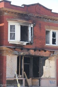 Burned out home in Detroit across from Polish Church St. Hyacinth
