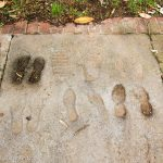 imprints of students following Alan B. Shepard's foot prints